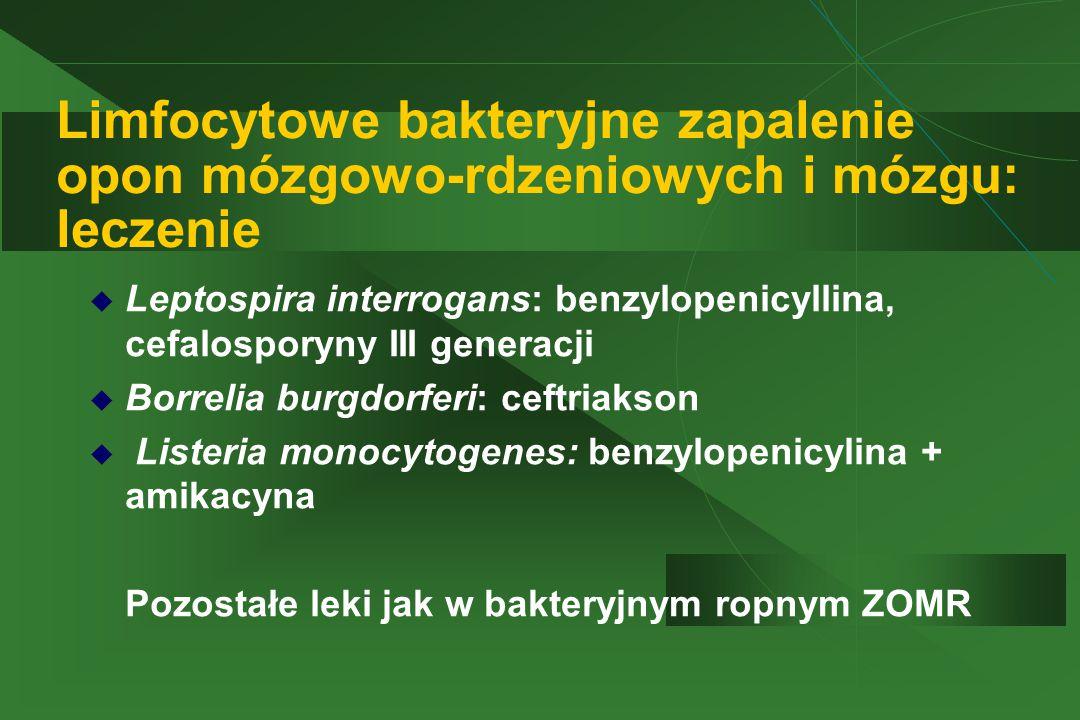 Limfocytowe bakteryjne zapalenie opon mózgowo-rdzeniowych i mózgu: leczenie