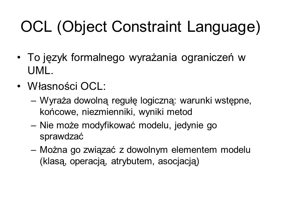 OCL (Object Constraint Language)