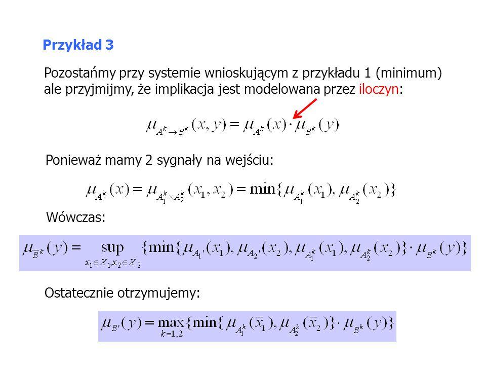 Przykład 3 Pozostańmy przy systemie wnioskującym z przykładu 1 (minimum) ale przyjmijmy, że implikacja jest modelowana przez iloczyn: