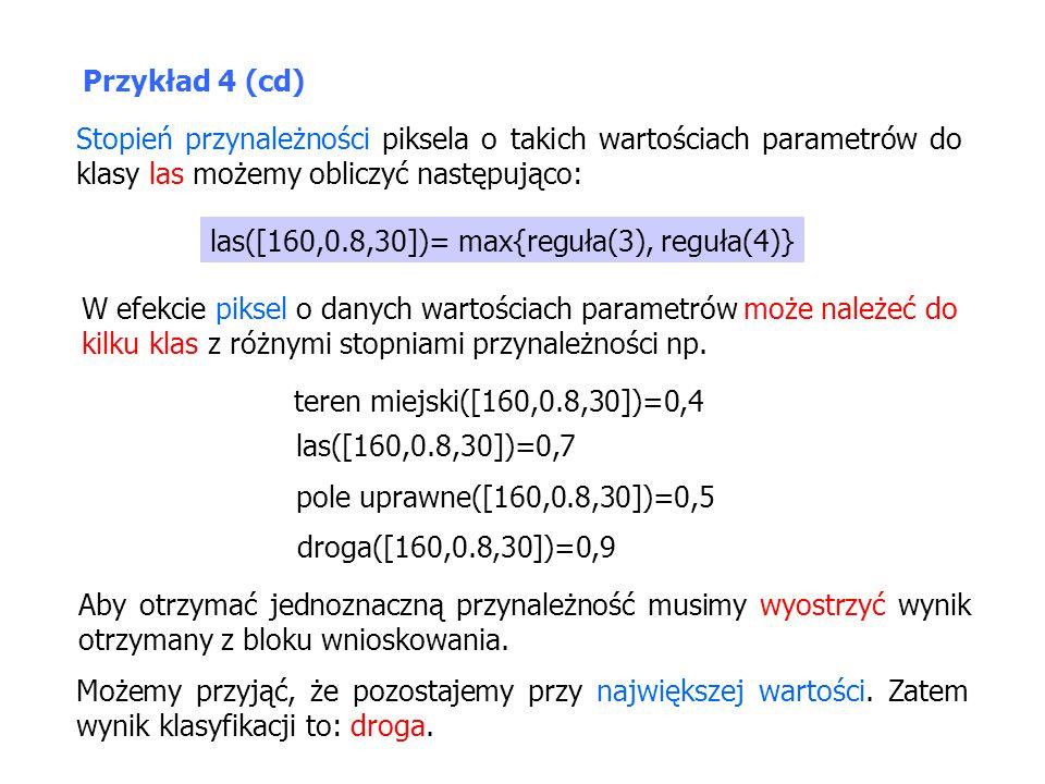 Przykład 4 (cd) Stopień przynależności piksela o takich wartościach parametrów do klasy las możemy obliczyć następująco: