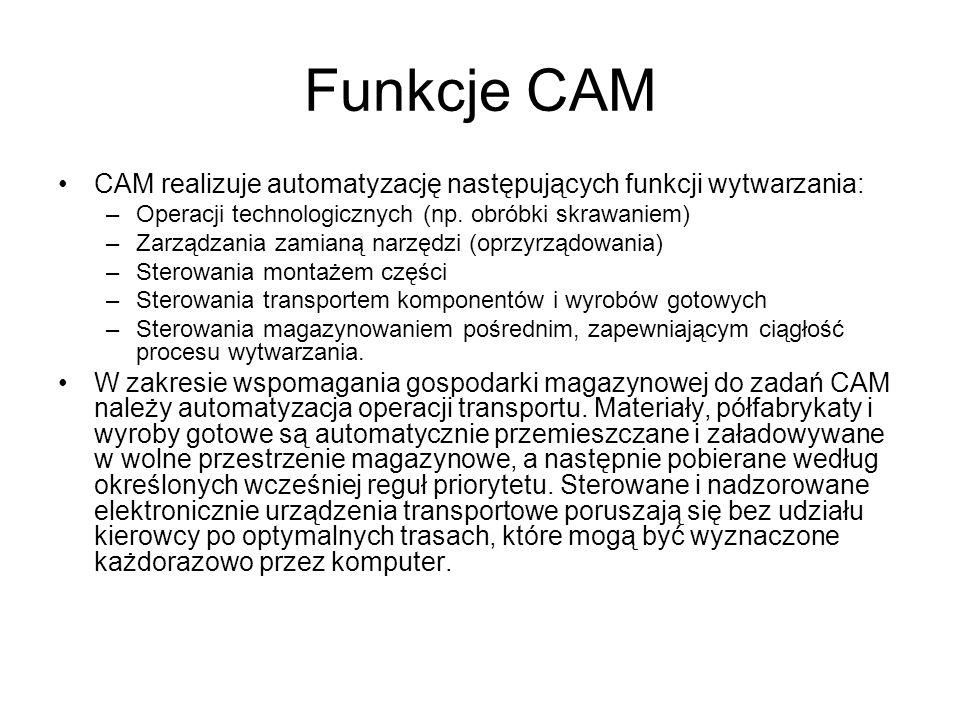Funkcje CAM CAM realizuje automatyzację następujących funkcji wytwarzania: Operacji technologicznych (np. obróbki skrawaniem)