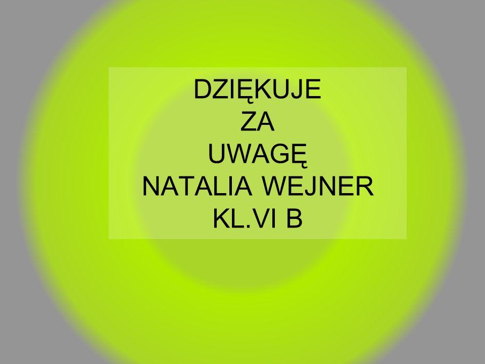 DZIĘKUJE ZA UWAGĘ NATALIA WEJNER KL.VI B