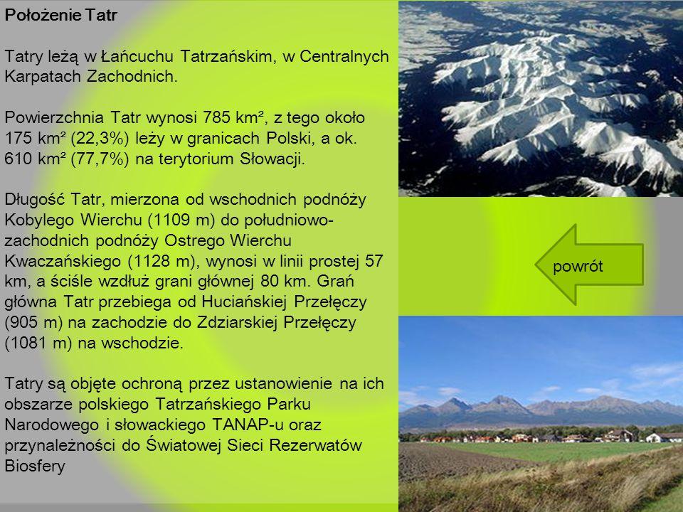 Położenie Tatr Tatry leżą w Łańcuchu Tatrzańskim, w Centralnych Karpatach Zachodnich.