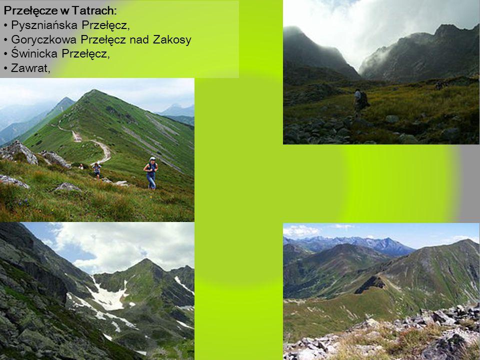 Przełęcze w Tatrach: • Pyszniańska Przełęcz, • Goryczkowa Przełęcz nad Zakosy. • Świnicka Przełęcz,
