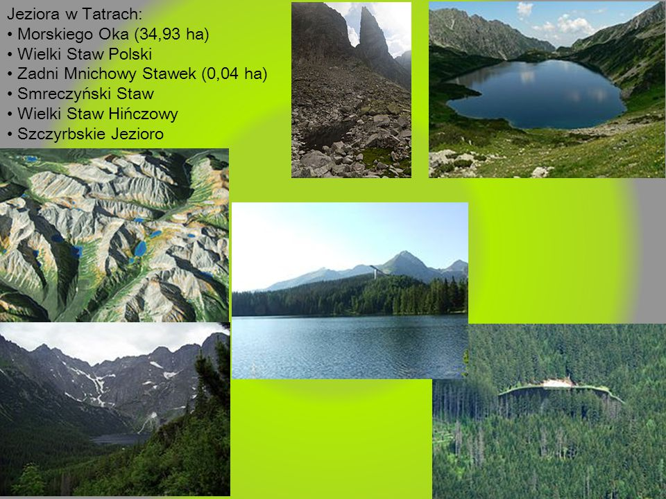 Jeziora w Tatrach: • Morskiego Oka (34,93 ha) • Wielki Staw Polski. • Zadni Mnichowy Stawek (0,04 ha)