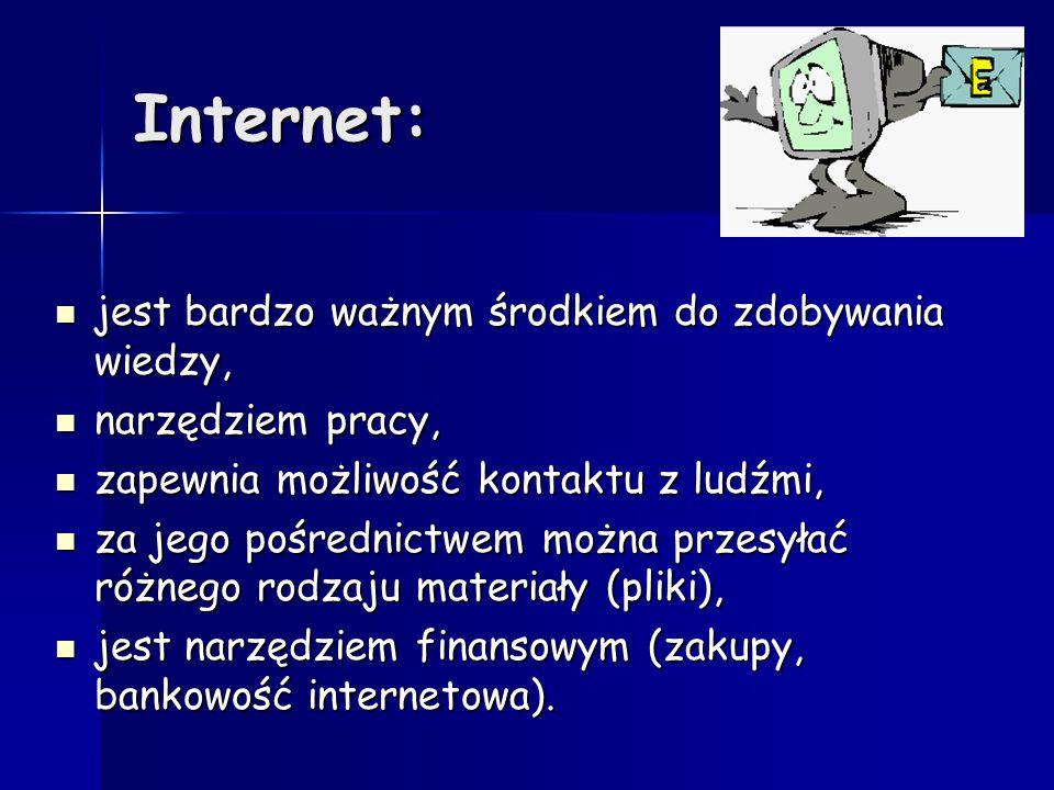 Internet: jest bardzo ważnym środkiem do zdobywania wiedzy,