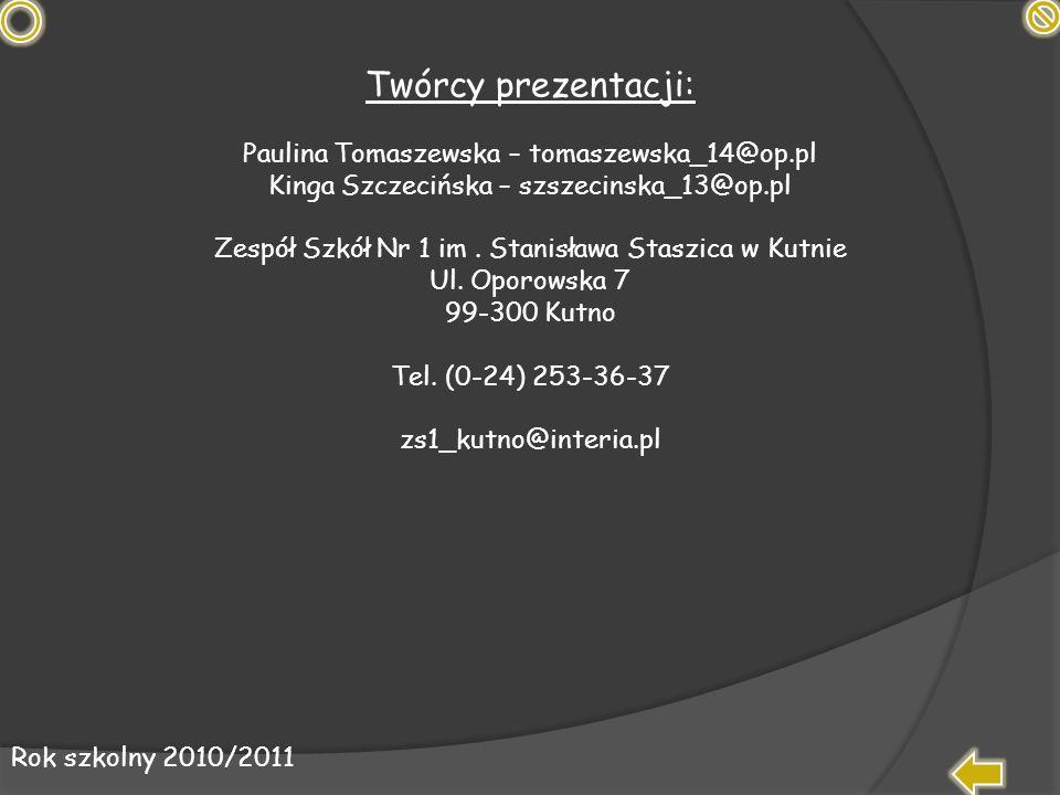 Twórcy prezentacji: Paulina Tomaszewska – tomaszewska_14@op.pl