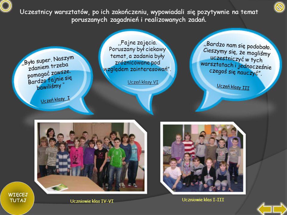 Uczestnicy warsztatów, po ich zakończeniu, wypowiadali się pozytywnie na temat poruszanych zagadnień i realizowanych zadań.