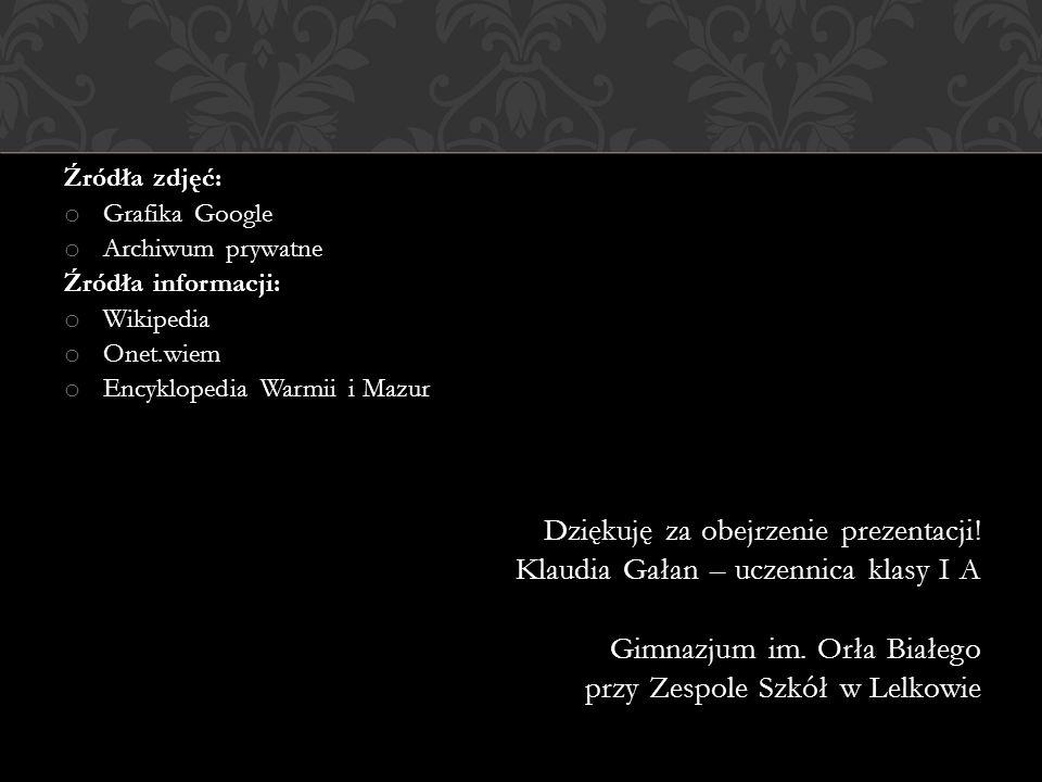 Klaudia Gałan – uczennica klasy I A Gimnazjum im. Orła Białego