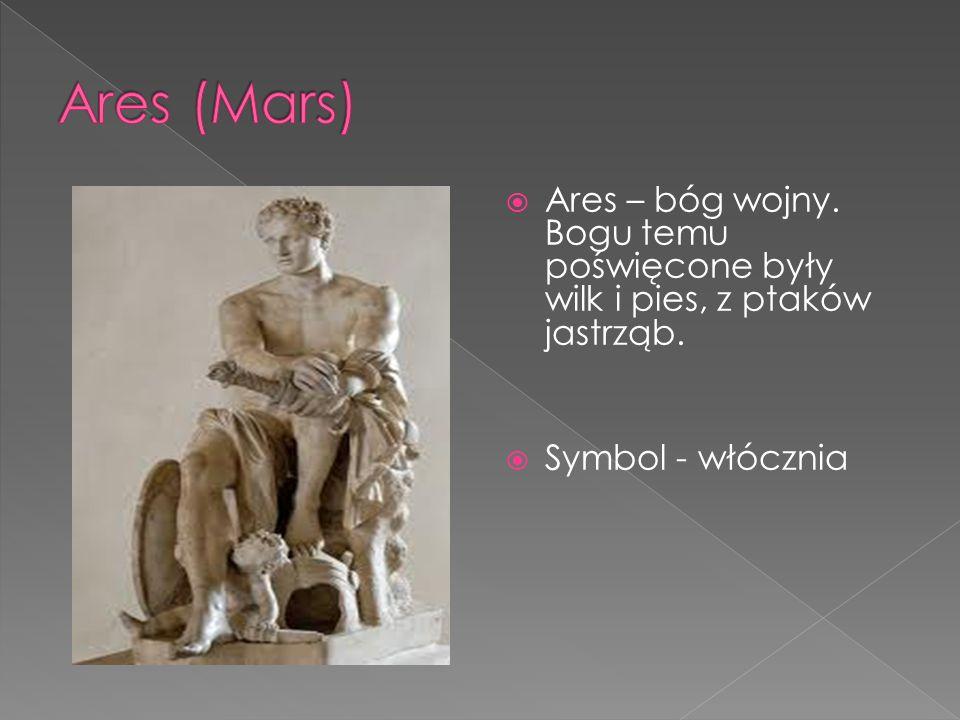 Ares (Mars) Ares – bóg wojny. Bogu temu poświęcone były wilk i pies, z ptaków jastrząb.