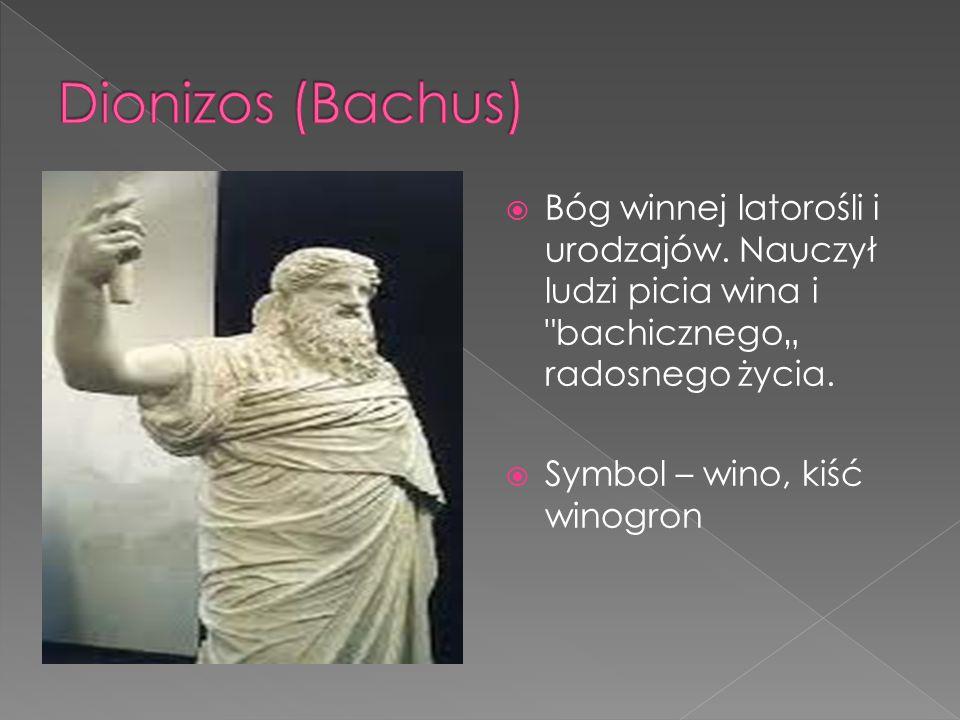 """Dionizos (Bachus) Bóg winnej latorośli i urodzajów. Nauczył ludzi picia wina i bachicznego"""" radosnego życia."""