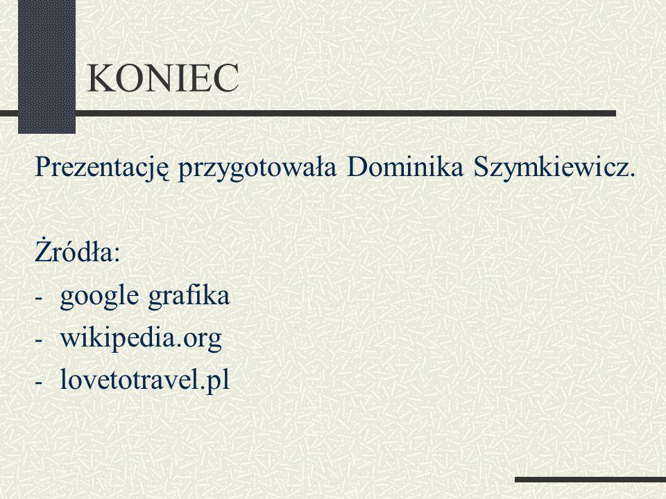 KONIEC Prezentację przygotowała Dominika Szymkiewicz. Żródła: