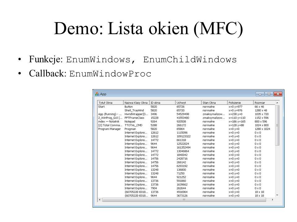 Demo: Lista okien (MFC)