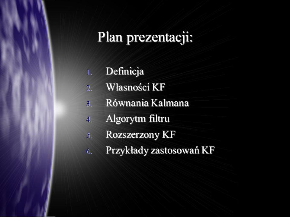 Plan prezentacji: Definicja Własności KF Równania Kalmana