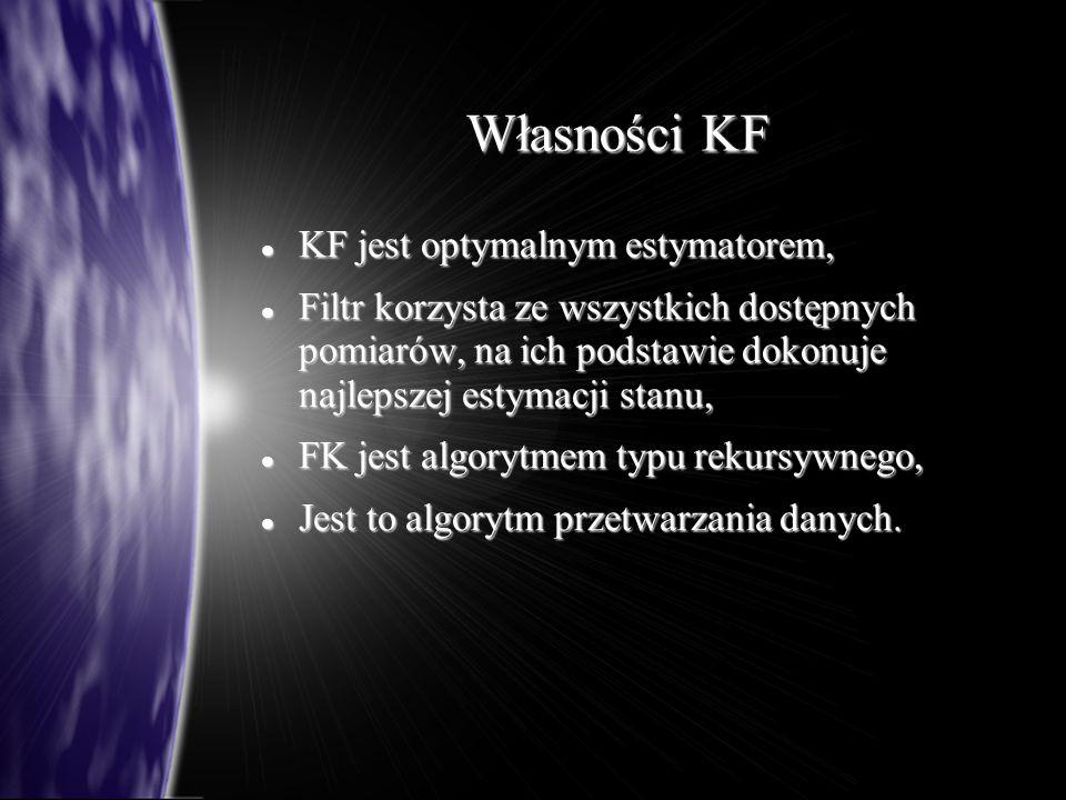 Własności KF KF jest optymalnym estymatorem,