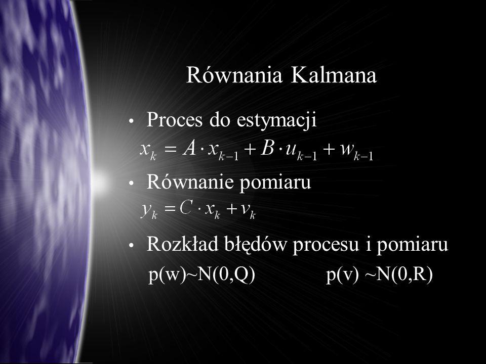 Równania Kalmana Proces do estymacji Równanie pomiaru
