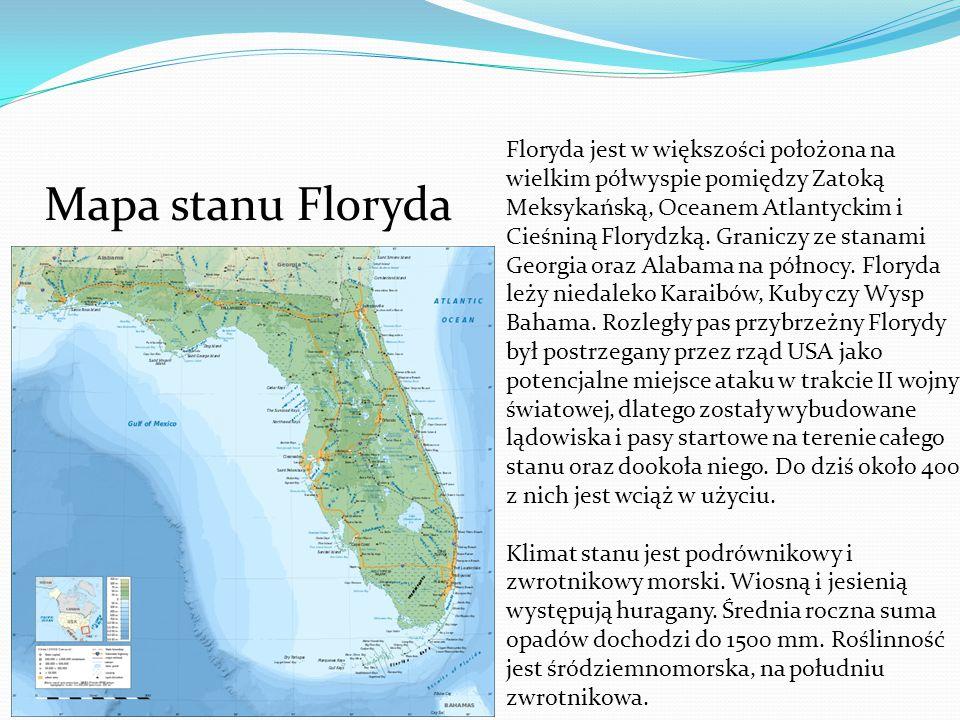 Floryda jest w większości położona na wielkim półwyspie pomiędzy Zatoką Meksykańską, Oceanem Atlantyckim i Cieśniną Florydzką. Graniczy ze stanami Georgia oraz Alabama na północy. Floryda leży niedaleko Karaibów, Kuby czy Wysp Bahama. Rozległy pas przybrzeżny Florydy był postrzegany przez rząd USA jako potencjalne miejsce ataku w trakcie II wojny światowej, dlatego zostały wybudowane lądowiska i pasy startowe na terenie całego stanu oraz dookoła niego. Do dziś około 400 z nich jest wciąż w użyciu.