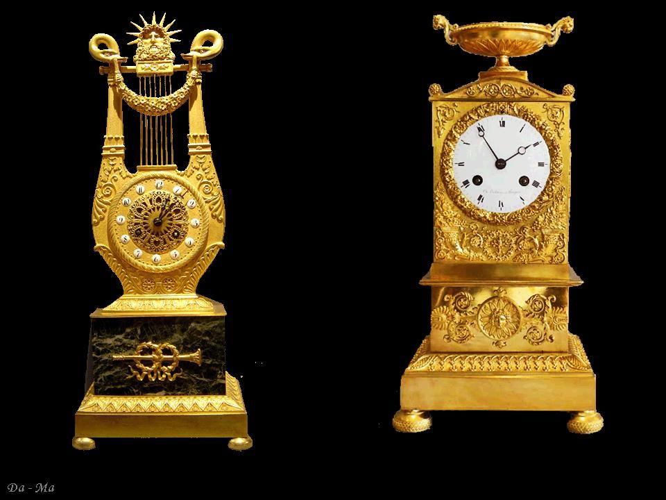 Francja Empire – zegar kominkowy, brąz złocony, marmur