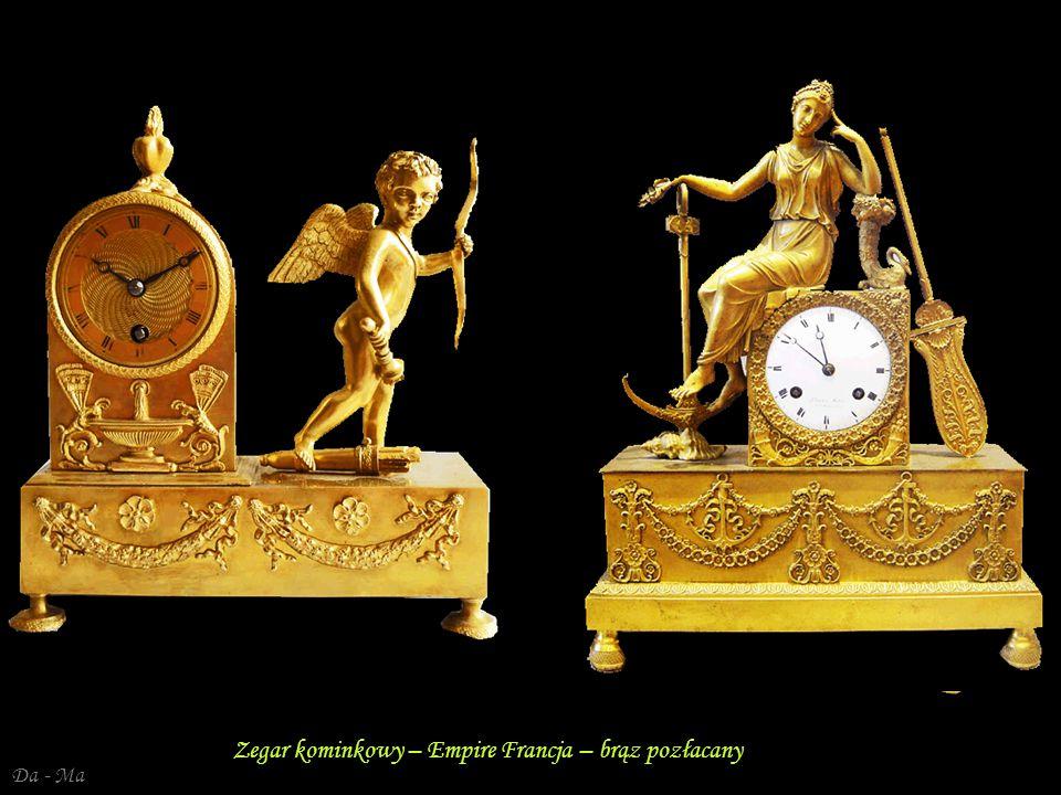 Zegar kominkowy – Empire Francja – brąz pozłacany