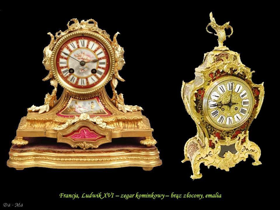 Francja, Ludwik XVI – zegar kominkowy – brąz złocony, emalia