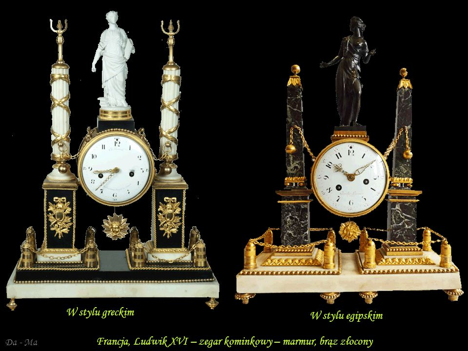 Francja, Ludwik XVI – zegar kominkowy – marmur, brąz złocony