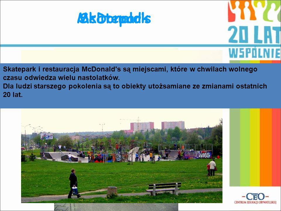 McDonald's Skatepark. Skatepark i restauracja McDonald s są miejscami, które w chwilach wolnego czasu odwiedza wielu nastolatków.