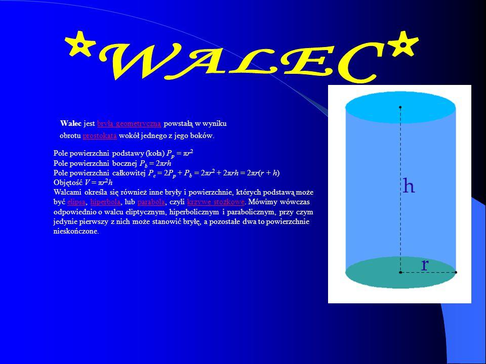 *WALEC* Walec jest bryłą geometryczną powstałą w wyniku obrotu prostokąta wokół jednego z jego boków.