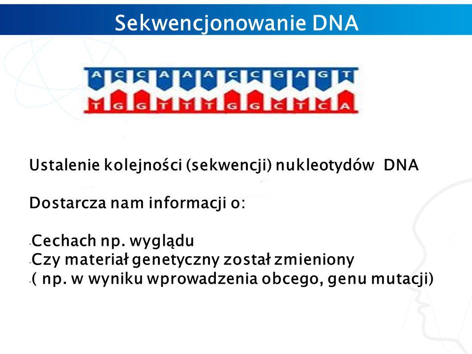 Sekwencjonowanie DNA Ustalenie kolejności (sekwencji) nukleotydów DNA