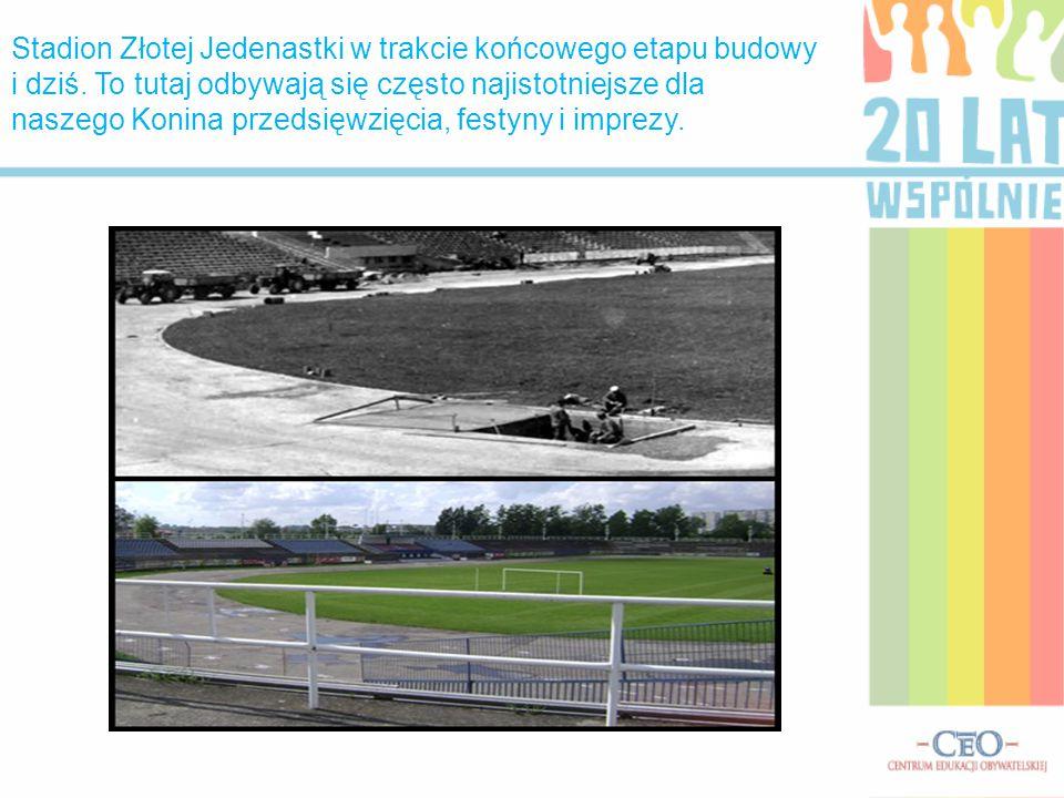 Stadion Złotej Jedenastki w trakcie końcowego etapu budowy i dziś
