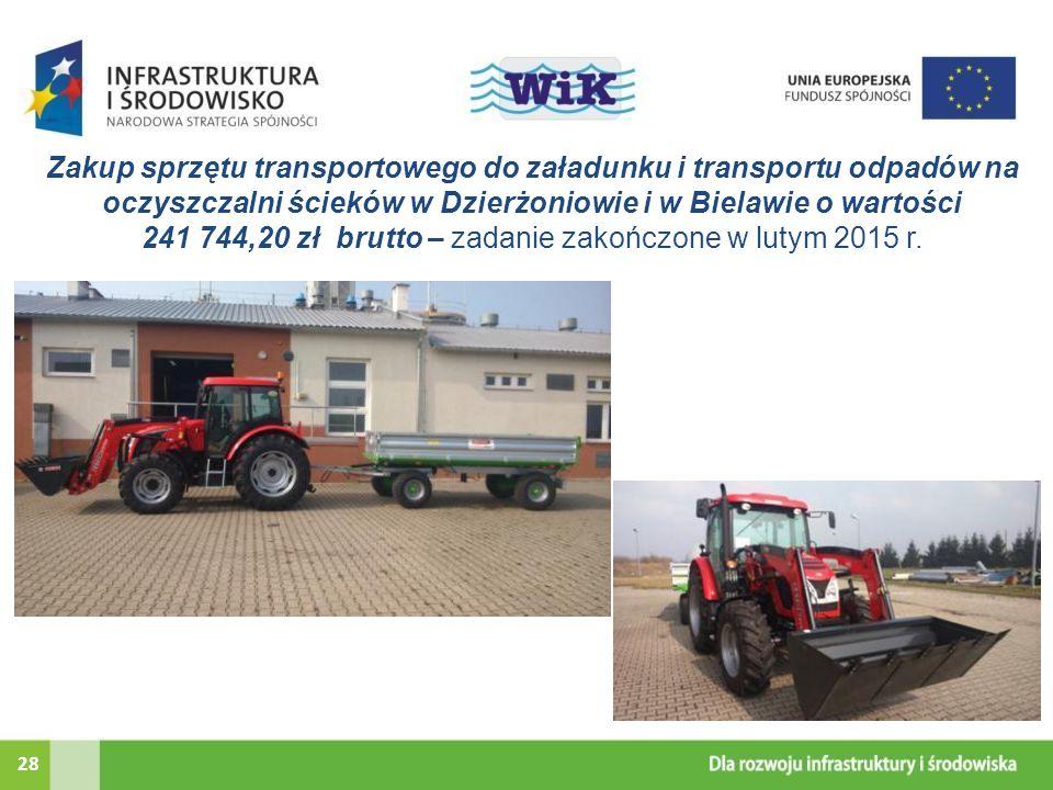 Zakup sprzętu transportowego do załadunku i transportu odpadów na oczyszczalni ścieków w Dzierżoniowie i w Bielawie o wartości 241 744,20 zł brutto – zadanie zakończone w lutym 2015 r.