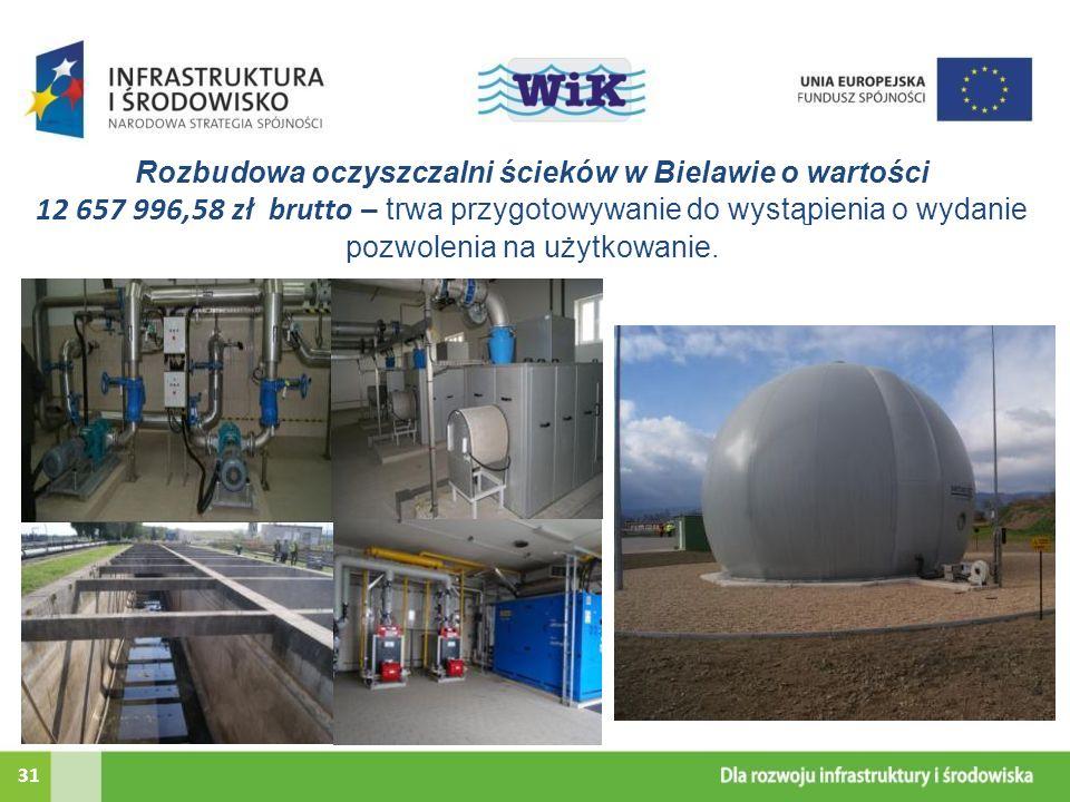 Rozbudowa oczyszczalni ścieków w Bielawie o wartości 12 657 996,58 zł brutto – trwa przygotowywanie do wystąpienia o wydanie pozwolenia na użytkowanie.