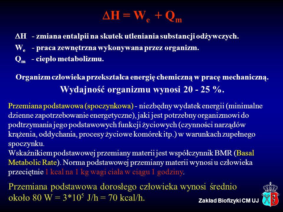 H = We + Qm Wydajność organizmu wynosi 20 - 25 %.