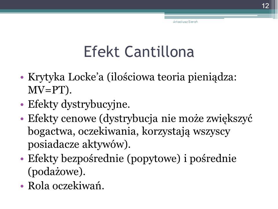 Efekt Cantillona Krytyka Locke'a (ilościowa teoria pieniądza: MV=PT).