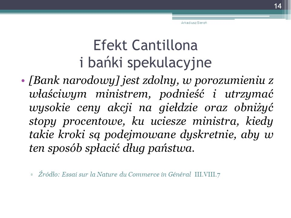 Efekt Cantillona i bańki spekulacyjne