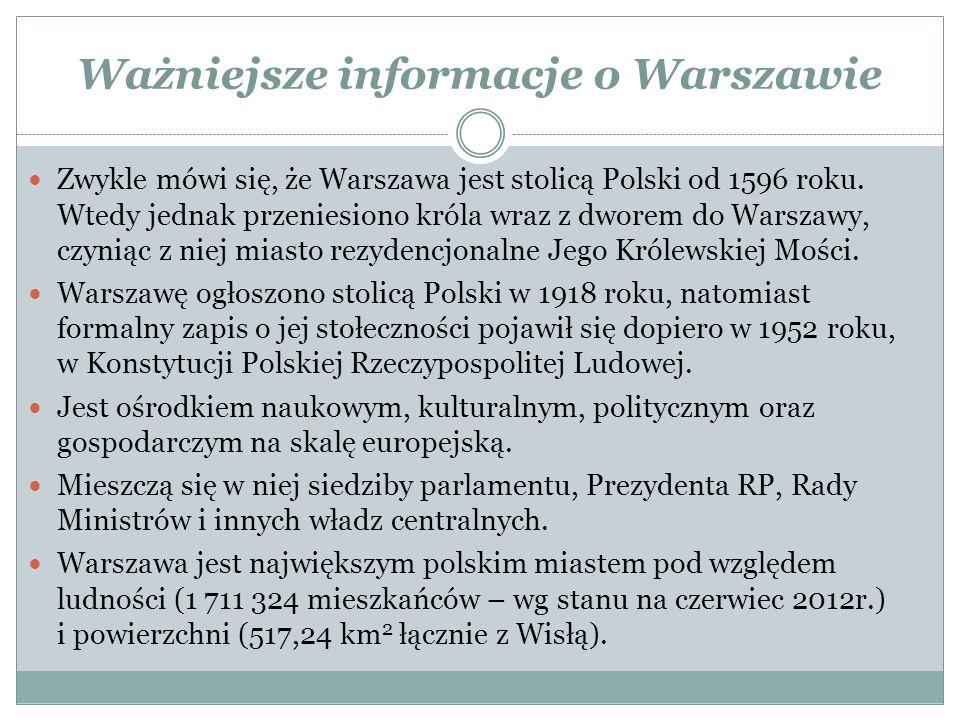 Ważniejsze informacje o Warszawie