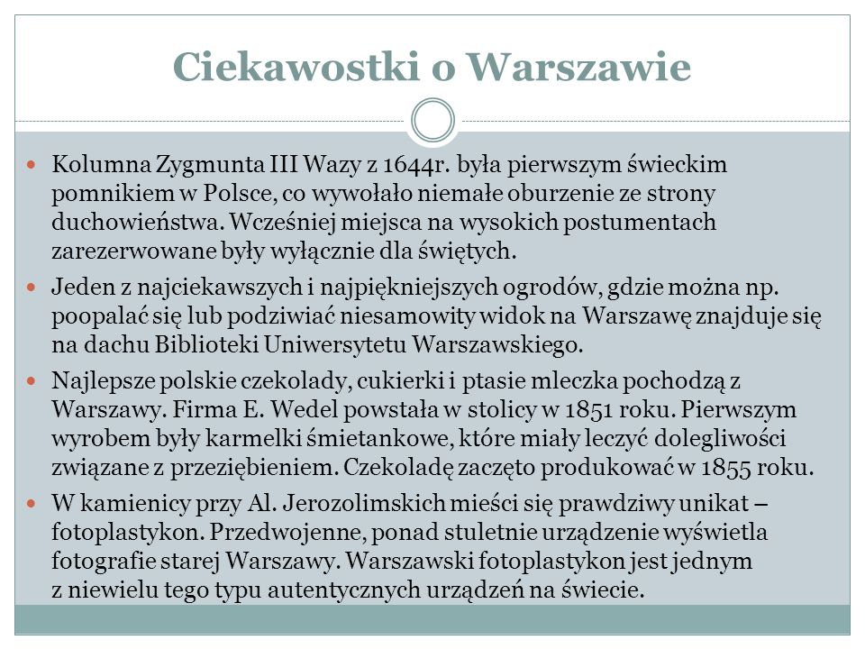 Ciekawostki o Warszawie