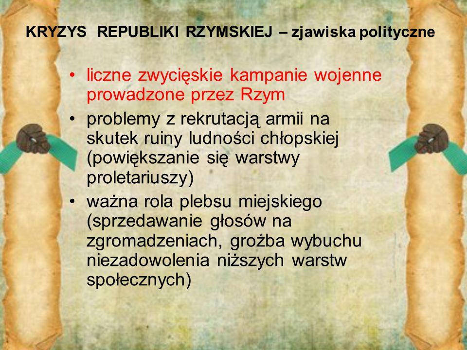 KRYZYS REPUBLIKI RZYMSKIEJ – zjawiska polityczne