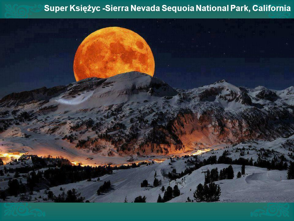 Super Księżyc -Sierra Nevada Sequoia National Park, California