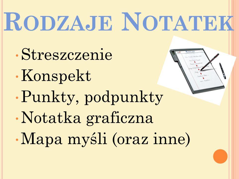 Rodzaje Notatek Streszczenie Konspekt Punkty, podpunkty