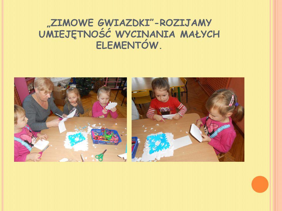 """""""ZIMOWE GWIAZDKI -ROZIJAMY UMIEJĘTNOŚĆ WYCINANIA MAŁYCH ELEMENTÓW."""