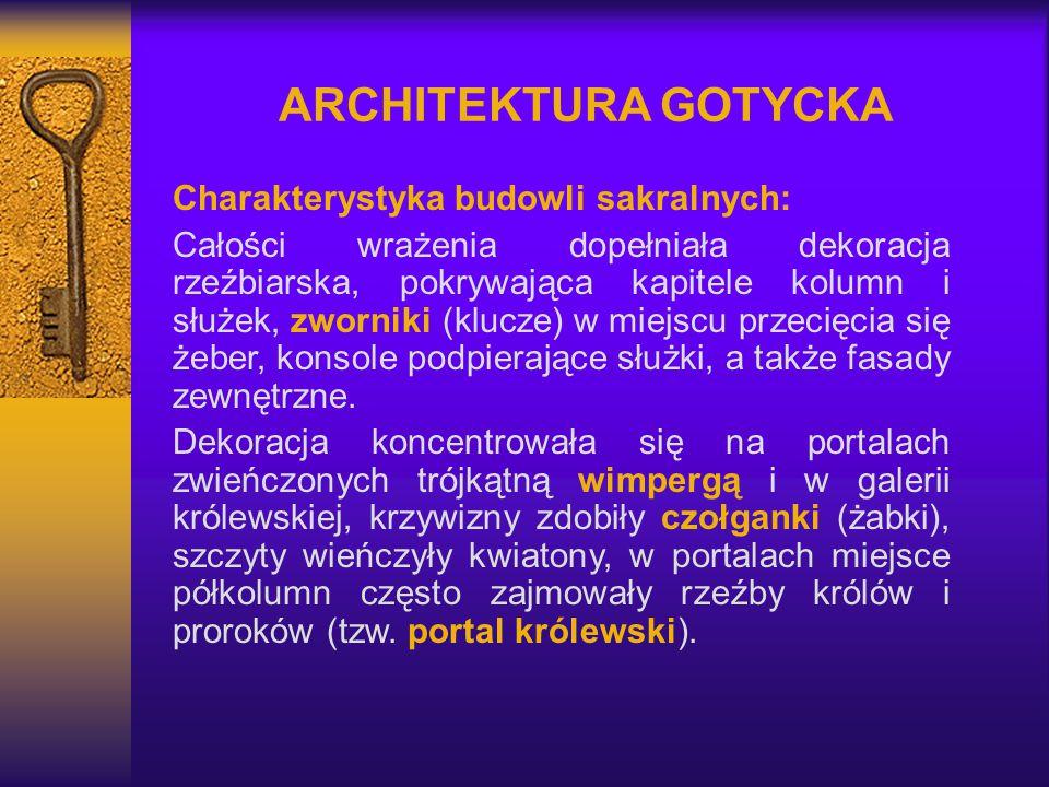 ARCHITEKTURA GOTYCKA Charakterystyka budowli sakralnych: