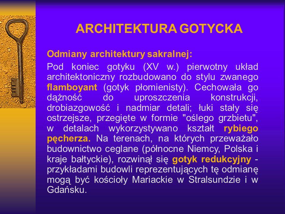 ARCHITEKTURA GOTYCKA Odmiany architektury sakralnej:
