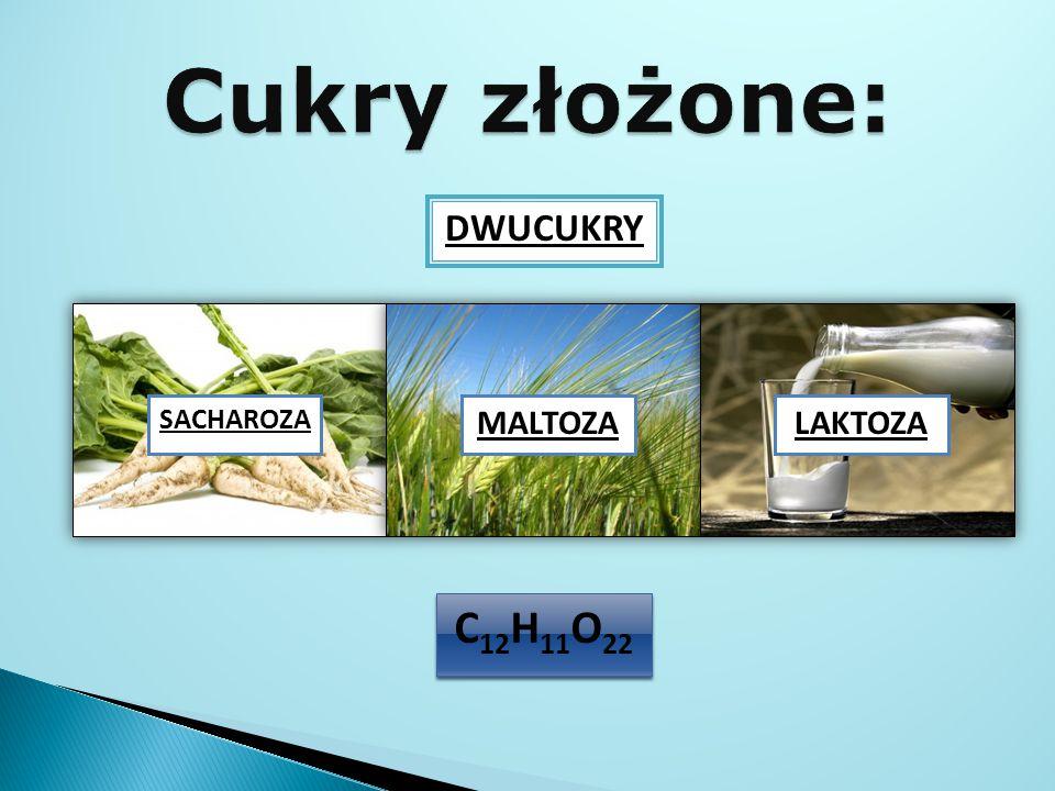 Cukry złożone: DWUCUKRY SACHAROZA MALTOZA LAKTOZA C12H11O22