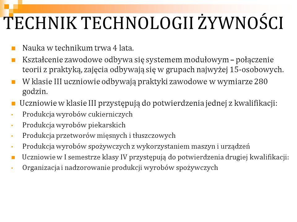 TECHNIK TECHNOLOGII ŻYWNOŚCI