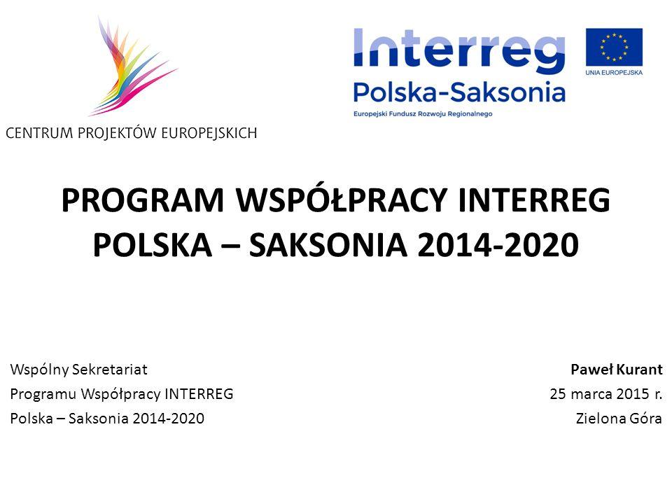 PROGRAM WSPÓŁPRACY INTERREG POLSKA – SAKSONIA 2014-2020