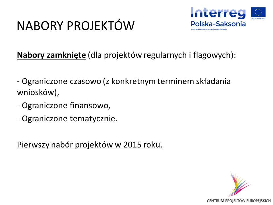 NABORY PROJEKTÓW Nabory zamknięte (dla projektów regularnych i flagowych): Ograniczone czasowo (z konkretnym terminem składania wniosków),