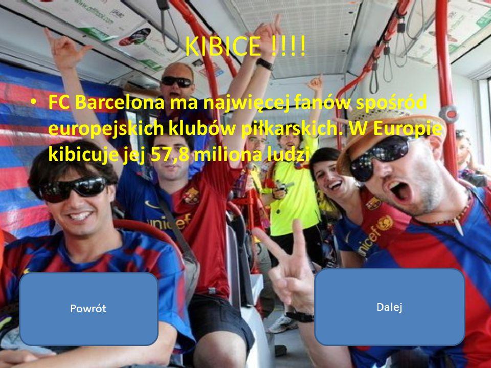 KIBICE !!!! FC Barcelona ma najwięcej fanów spośród europejskich klubów piłkarskich. W Europie kibicuje jej 57,8 miliona ludzi.
