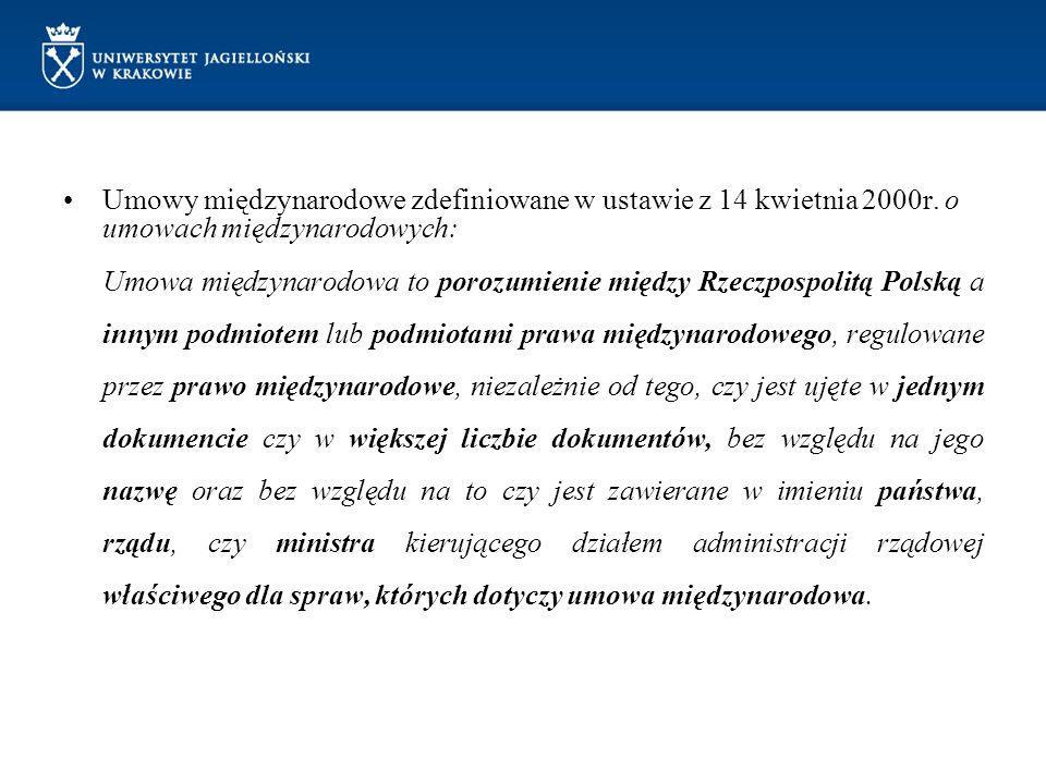 Umowy międzynarodowe zdefiniowane w ustawie z 14 kwietnia 2000r