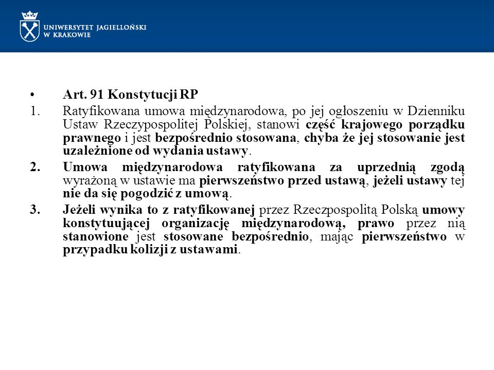 Art. 91 Konstytucji RP