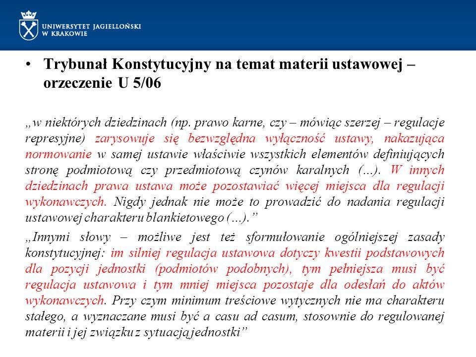 Trybunał Konstytucyjny na temat materii ustawowej – orzeczenie U 5/06